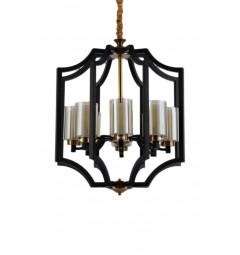 Lampadario a sospensione stile industriale vintage in gabbia di metallo colore nero e ottone VIGATTO W8