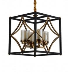 Lampadario a sospensione in stile industriale vintage gabbia metallo colore nero ottone paralume vetro 4 luce QUADRATO