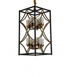 Lampadario a sospensione stile industriale vintage in gabbia di metallo colore nero e ottone QUADRATO DUO