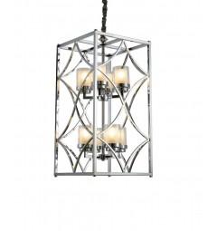 Lampadario a sospensione stile industriale vintage in gabbia di metallo colore cromo QUADRATO DUO