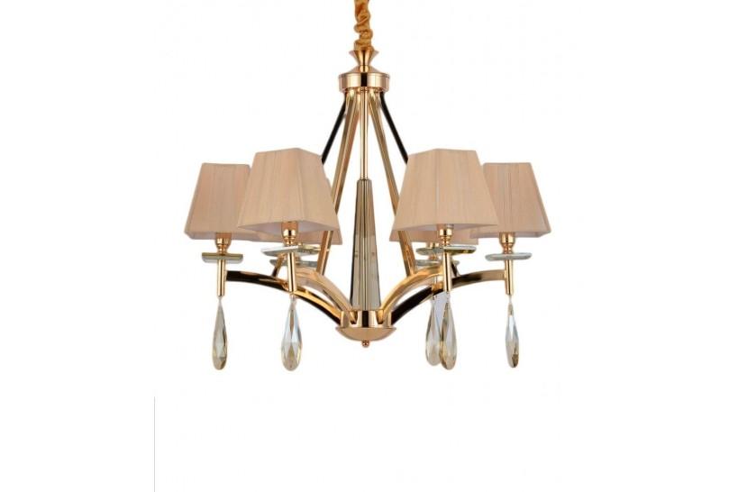 Lampadario a sospensione in stile classico colore oro e cristalli con paralume crema con 6 luce VALENTINA W6