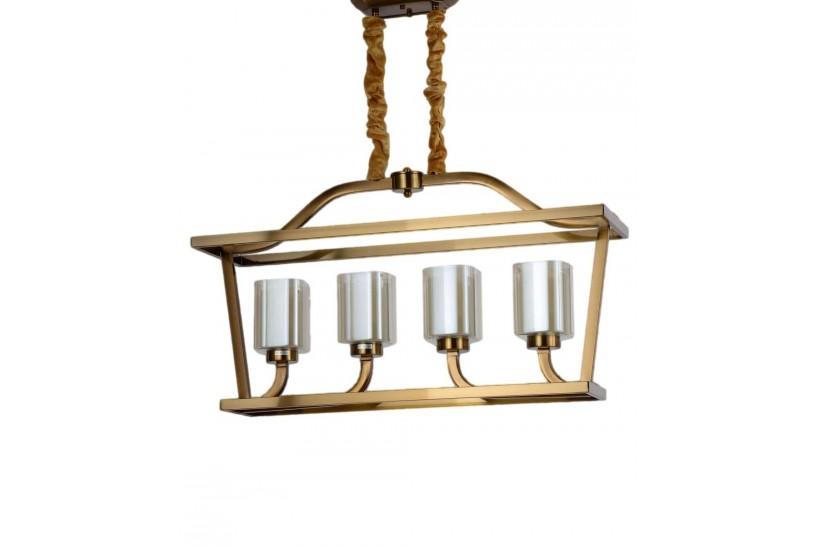 Lampadario a sospensione in stile classico vintage 4 punti luce in vetro e metallo colore ottone ATLANTA W4