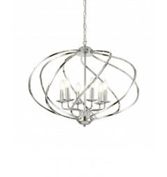 Lampadario a sospensione moderno di design in metallo cromato 6 punti luce RODERIO