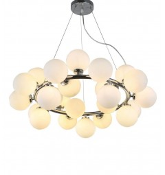 Lampadario a sospensione di design moderno 25 luci a sfere in vetro DNA SP25 Ideal Lux Cromo