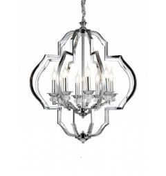 Lampadario a sospensione in stile classico vintage 8 punti luce con cristallo e metallo cromato CESARO W8