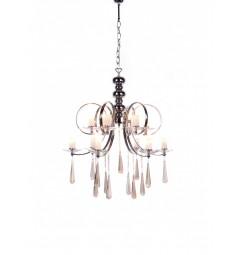 Lampadario a sospensione moderno in metallo cromato e cristalli 12 punti luce Follio W12