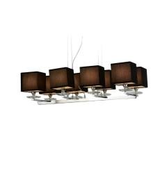 Lampadario a sospensione moderno in metallo cromato con paralume in tessuto ignifugo colore nero con 8 punti di luce FIANELO