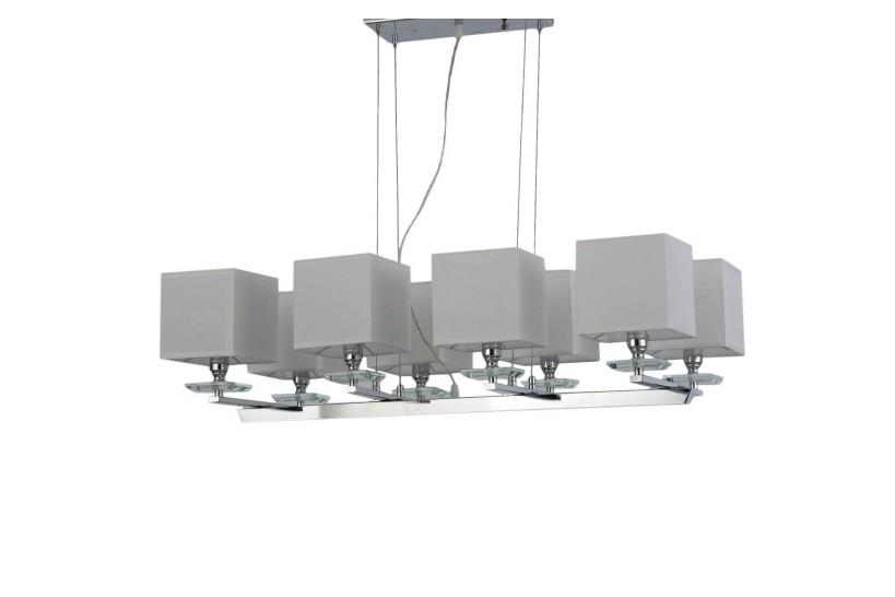 Lampadario a sospensione moderno in metallo cromato con paralume in tessuto ignifugo colore bianco con 8  punti di luce FIANELO