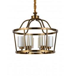 Lampadario a sospensione in stile classico vintage 6 punti luce in vetro e metallo colore ottone ATLANTA W6