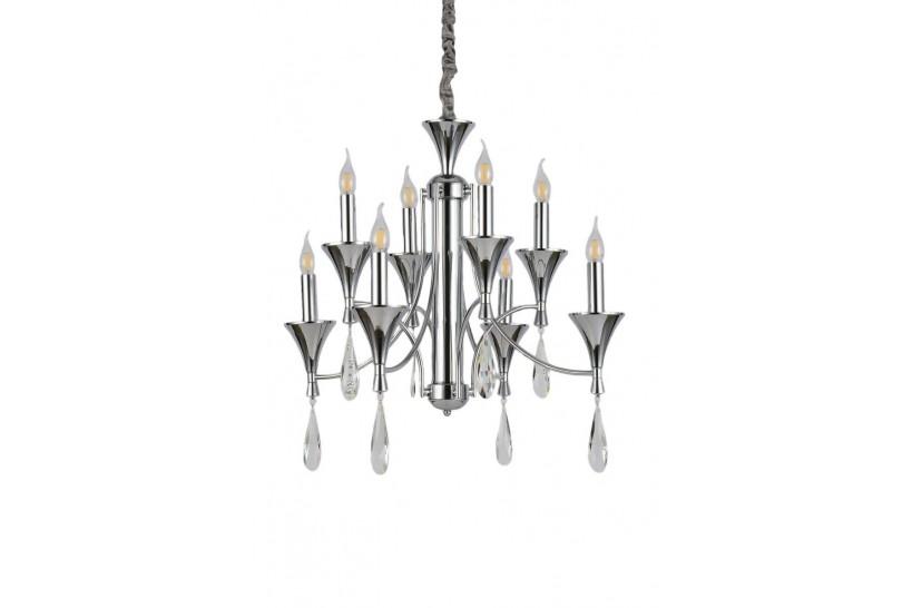 Lampadario a sospensione in stile classico vintage 8 punti luce di metallo cromato e cristalli LIBERO W8