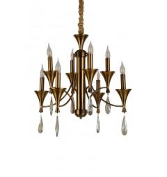 Lampadario a sospensione in stile classico vintage 8 punti luce in metallo colore ottone e cristallo LIBERO W8