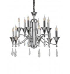Lampadario a sospensione in stile classico vintage 12 punti luce di metallo cromato e cristalli LIBERO W12