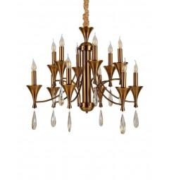 Lampadario a sospensione in stile classico vintage 12 punti luce in metallo colore ottone e cristallo LIBERO W12