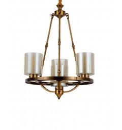 Lampadario a sospensione in stile industriale vintage di metallo colore ottone con paralume in vetro 4 punti di luce SANTINI W4