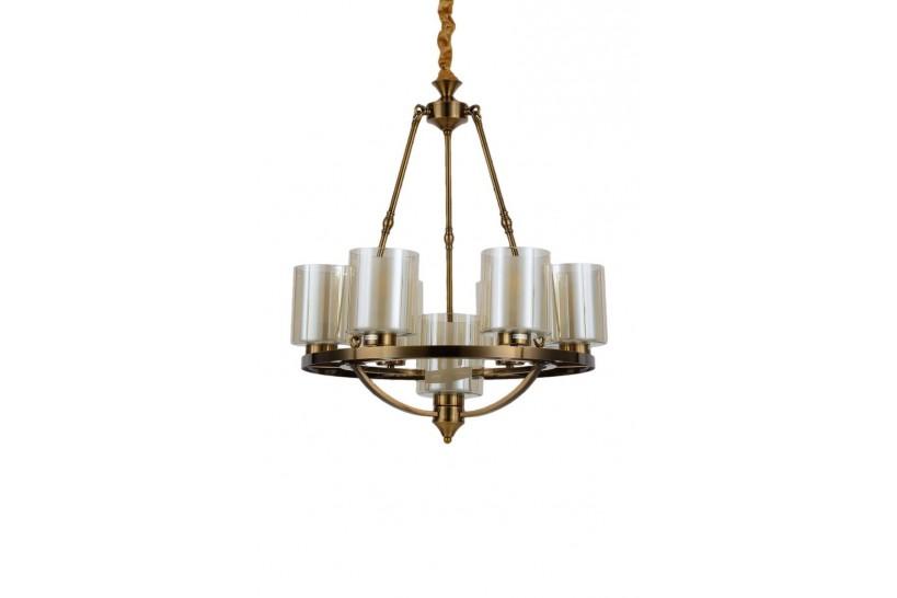 Lampadario a sospensione in stile industriale vintage di metallo colore ottone con paralume in vetro 7 punti di luce SANTINI W7