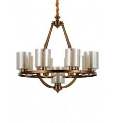 Lampadario a sospensione in stile industriale vintage di metallo colore ottone con paralume in vetro 9 punti di luce SANTINI W9
