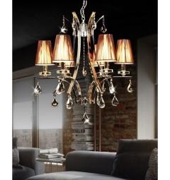 Lampadario di cristallo a sospensione Glamour W6 colore Marrone