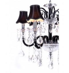 Il Lampadario di cristallo a sospensione Denica W6 in colore Nero
