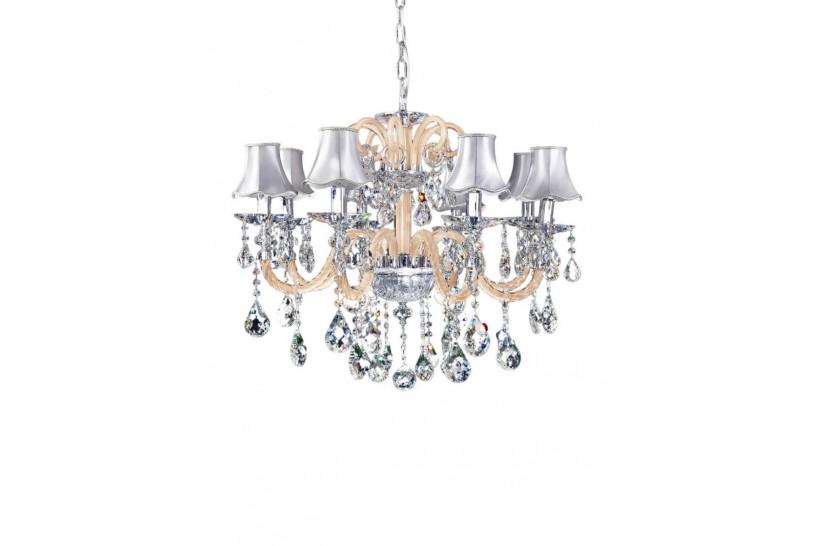 lampadario stile antico con cristalli e paralumi