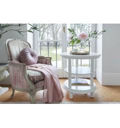 Tavolo Tavolino rotondo basso colore bianco in stile classico da salotto e soggiorno Princess 823