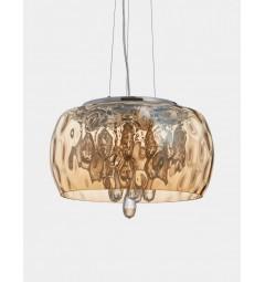 Lampadario moderno a sospensione paralume in vetro colore ambra con cristalli RUBINA D50
