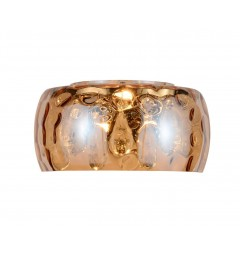 Applique lampada da parete moderno di design paralume in vetro ondulato colore ambra con cristalli RUBINA W1