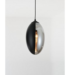 Lampada a sospensione moderno di design forma di oliva in vetro colore nero con grigio fumo CARLTON