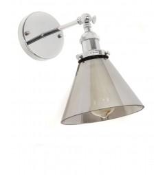 Applique lampada da parete da muro vintage a forma vaso in vetro grigio oscurato e cromato Nubi da interno