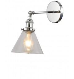 Applique lampada da parete da muro vintage a forma vaso in vetro trasparente e cromato Nubi da interno
