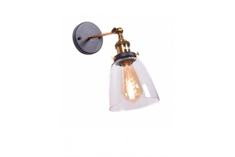 Applique lampada da parete da muro vintage con angolo regolabile a forma vaso in vetro trasparente e ottone Fabi