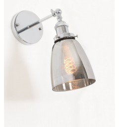 Applique lampada da parete da muro vintage Cromato con angolo regolabile a forma vaso in vetro grigio oscurato Fabi