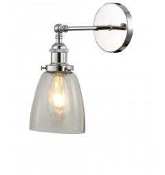 Applique lampada da parete da muro vintage Cromato con angolo regolabile a forma vaso in vetro Trasparente Fabi