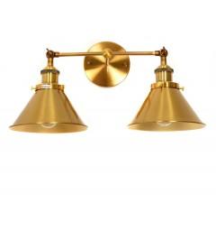 Applique lampada da parete da muro Stile Industriale vintage con due punti luce in metallo colore Ottone GUBI DUO