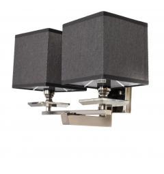 Applique lampada da parete muro in metallo e cristallo, due paralumi in tessuto colore Nero FIANELO W2
