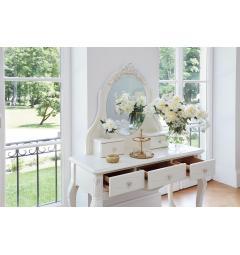 Toletta con specchio classica bianca avorio e cassetti