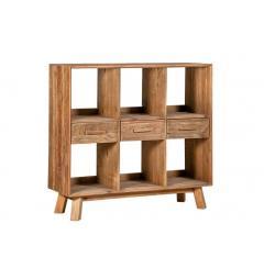 Libreria bassa in legno naturale