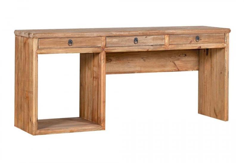 scrivania legno naturale con cassetti