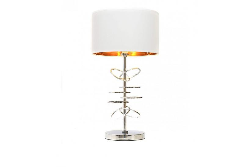 Lampada da tavolo comodino glamour MILARI Bianco-Cromo