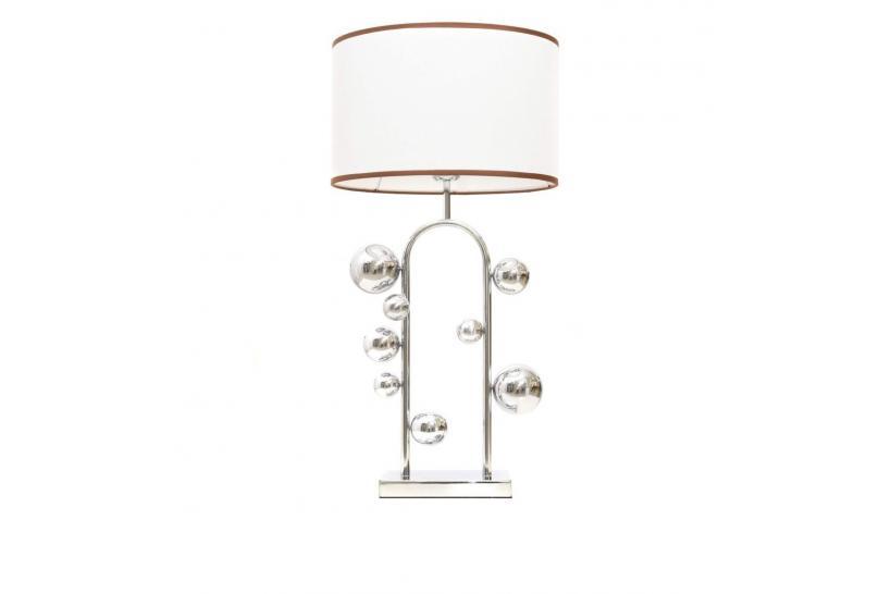 Lampada da tavolo comodino glamour SELARI Bianco-Cromo