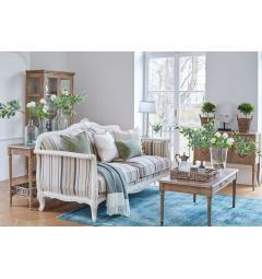 Divano shabby 3 posti in legno bianco e tessuto di lino