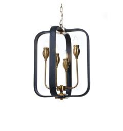 Lampadario a sospensione in stile classico vintage 4 punti luce in metallo colore nero e ottone FLORIDA W4