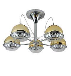 Plafoniera moderno di design cromato con 5 diffusore sferico in vetro colorato metà oro e metà trasparente VERONI W5.