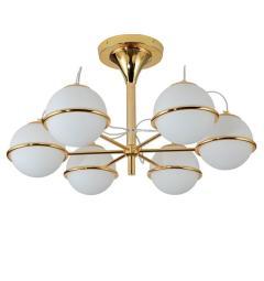 Plafoniera moderno di design in metallo colore Oro con 6 diffusore sferico in vetro colorato bianco di diametro 15 cm TIVOLI W6.