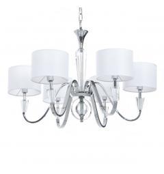 Lampadario di cristallo a sospensione in metallo color cromato con 6 punti di luce paralume bianco Capucci W6.