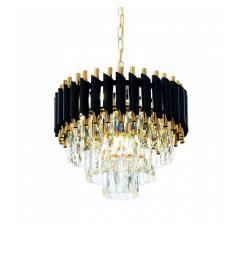 Lampadario di design post moderno di cristallo e metallo nero oro MAZINI D40