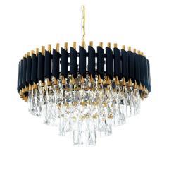 Lampadario di design post moderno di cristallo e metallo nero oro MAZINI D50