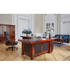 scrivania a l per ufficio in legno noce