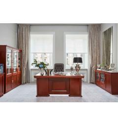 arredo studio elegante in legno con scrivania da 180 cm e armadi da ufficio con ante di vetro