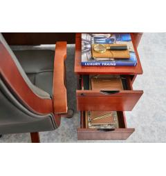 scrivania con cassettiera su ruote in legno classica