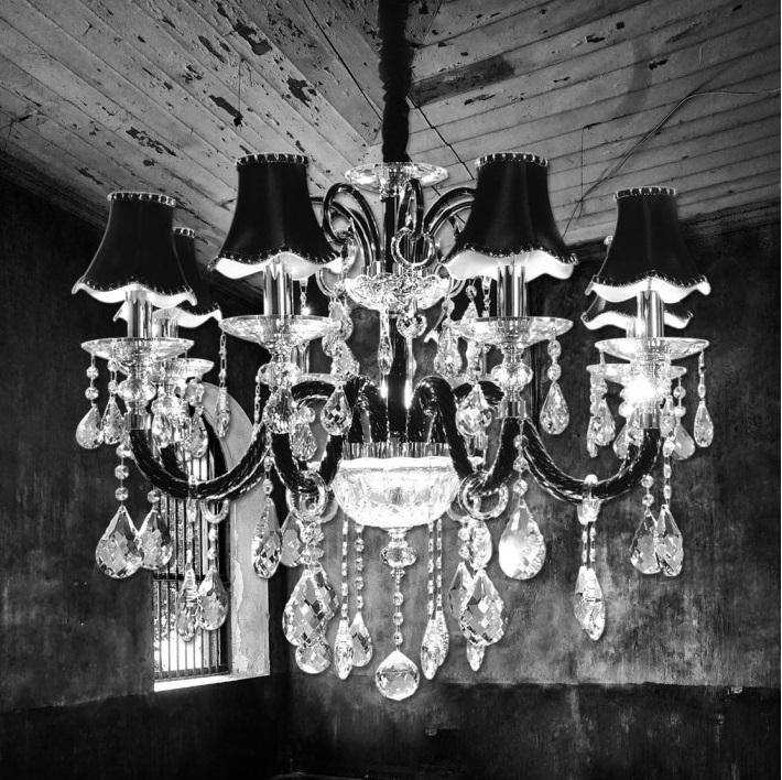 lampadario nero : Lampadario a sospensione in colore Nero elegante in cristallo offerta